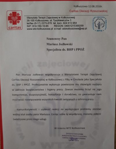 caritas_diecezji_rzeszowskiej_podziekowanie_bhp_ppoz